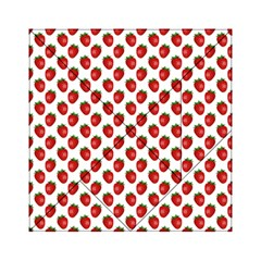 Fresh Bright Red Strawberries On White Pattern Acrylic Tangram Puzzle (6  X 6 )
