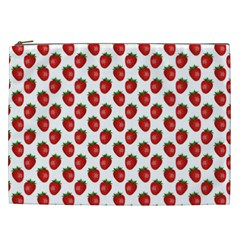 Fresh Bright Red Strawberries On White Pattern Cosmetic Bag (xxl)