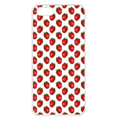 Fresh Bright Red Strawberries on White Pattern Apple iPhone 5 Seamless Case (White)