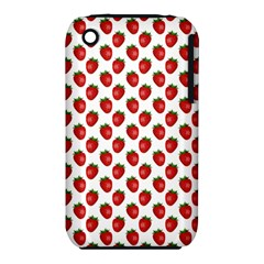 Fresh Bright Red Strawberries on White Pattern iPhone 3S/3GS