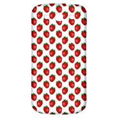 Fresh Bright Red Strawberries on White Pattern Samsung Galaxy S3 S III Classic Hardshell Back Case