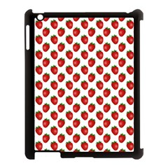 Fresh Bright Red Strawberries on White Pattern Apple iPad 3/4 Case (Black)
