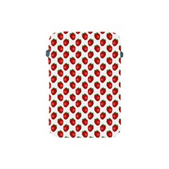 Fresh Bright Red Strawberries on White Pattern Apple iPad Mini Protective Soft Cases