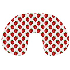 Fresh Bright Red Strawberries on White Pattern Travel Neck Pillows