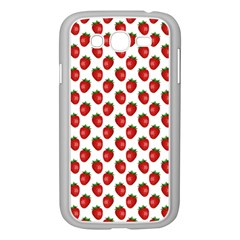 Fresh Bright Red Strawberries on White Pattern Samsung Galaxy Grand DUOS I9082 Case (White)