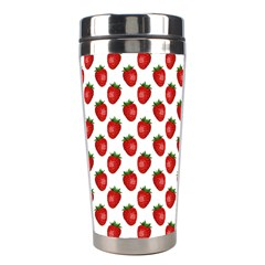 Fresh Bright Red Strawberries on White Pattern Stainless Steel Travel Tumblers