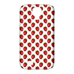 Fresh Bright Red Strawberries on White Pattern Samsung Galaxy S4 Classic Hardshell Case (PC+Silicone)