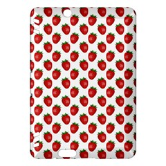 Fresh Bright Red Strawberries on White Pattern Kindle Fire HDX Hardshell Case
