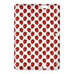 Fresh Bright Red Strawberries on White Pattern Kindle Fire HDX 8.9  Hardshell Case