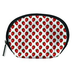 Fresh Bright Red Strawberries on White Pattern Accessory Pouches (Medium)