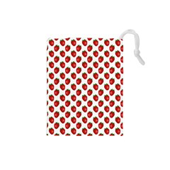 Fresh Bright Red Strawberries on White Pattern Drawstring Pouches (Small)