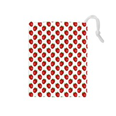 Fresh Bright Red Strawberries on White Pattern Drawstring Pouches (Medium)