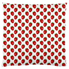 Fresh Bright Red Strawberries on White Pattern Large Flano Cushion Case (Two Sides)