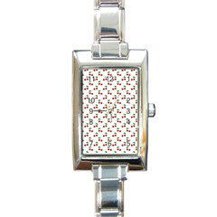 Natural Bright Red Cherries on White Pattern Rectangle Italian Charm Watch