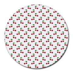 Natural Bright Red Cherries on White Pattern Round Mousepads