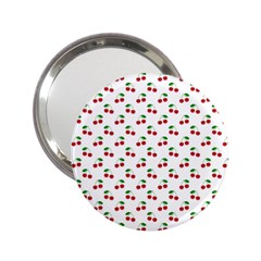 Natural Bright Red Cherries on White Pattern 2.25  Handbag Mirrors