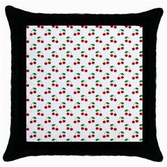 Natural Bright Red Cherries on White Pattern Throw Pillow Case (Black)