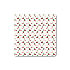 Natural Bright Red Cherries on White Pattern Square Magnet