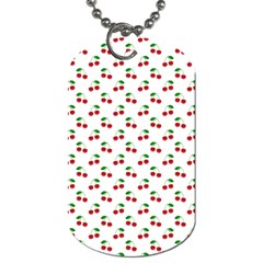Natural Bright Red Cherries on White Pattern Dog Tag (One Side)