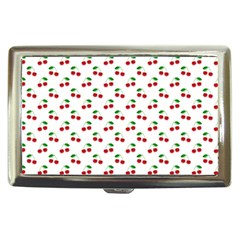 Natural Bright Red Cherries on White Pattern Cigarette Money Cases