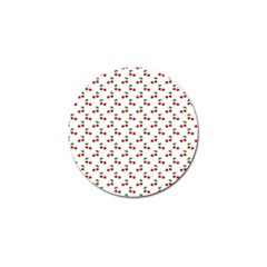 Natural Bright Red Cherries on White Pattern Golf Ball Marker