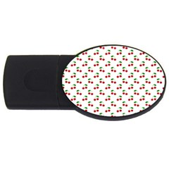 Natural Bright Red Cherries on White Pattern USB Flash Drive Oval (1 GB)