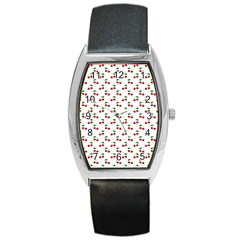 Natural Bright Red Cherries on White Pattern Barrel Style Metal Watch