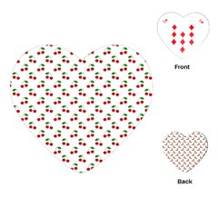 Natural Bright Red Cherries on White Pattern Playing Cards (Heart)