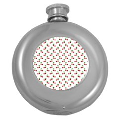Natural Bright Red Cherries on White Pattern Round Hip Flask (5 oz)
