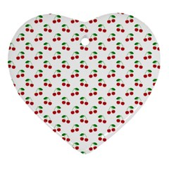 Natural Bright Red Cherries on White Pattern Heart Ornament (Two Sides)