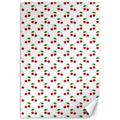 Natural Bright Red Cherries on White Pattern Canvas 12  x 18