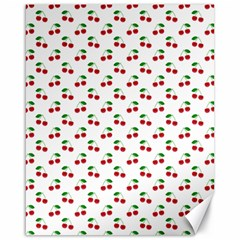 Natural Bright Red Cherries on White Pattern Canvas 16  x 20