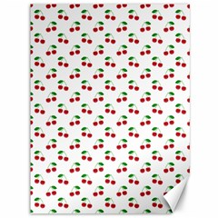 Natural Bright Red Cherries on White Pattern Canvas 36  x 48
