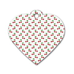 Natural Bright Red Cherries on White Pattern Dog Tag Heart (Two Sides)