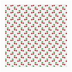 Natural Bright Red Cherries on White Pattern Medium Glasses Cloth (2-Side)