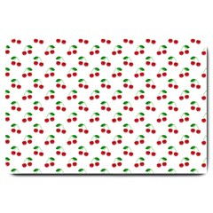 Natural Bright Red Cherries on White Pattern Large Doormat