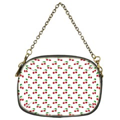 Natural Bright Red Cherries on White Pattern Chain Purses (One Side)