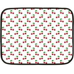 Natural Bright Red Cherries on White Pattern Double Sided Fleece Blanket (Mini)