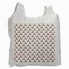 Natural Bright Red Cherries on White Pattern Recycle Bag (Two Side)
