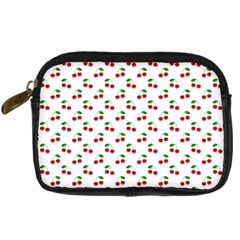 Natural Bright Red Cherries on White Pattern Digital Camera Cases