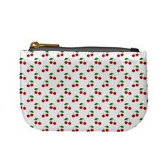 Natural Bright Red Cherries on White Pattern Mini Coin Purses