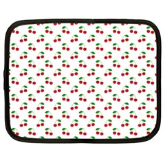 Natural Bright Red Cherries on White Pattern Netbook Case (XL)