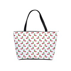 Natural Bright Red Cherries on White Pattern Shoulder Handbags