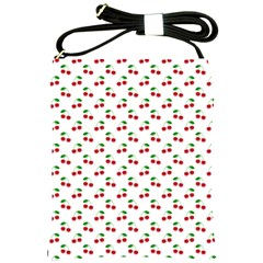 Natural Bright Red Cherries on White Pattern Shoulder Sling Bags