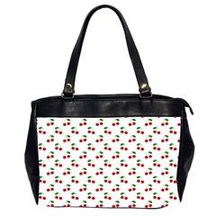 Natural Bright Red Cherries on White Pattern Office Handbags (2 Sides)