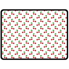 Natural Bright Red Cherries on White Pattern Fleece Blanket (Large)