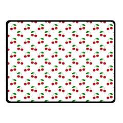 Natural Bright Red Cherries on White Pattern Fleece Blanket (Small)