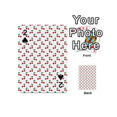 Natural Bright Red Cherries on White Pattern Playing Cards 54 (Mini)