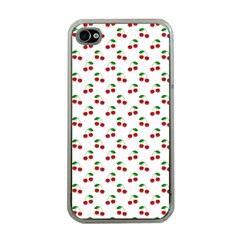 Natural Bright Red Cherries on White Pattern Apple iPhone 4 Case (Clear)