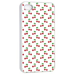 Natural Bright Red Cherries on White Pattern Apple iPhone 4/4s Seamless Case (White)